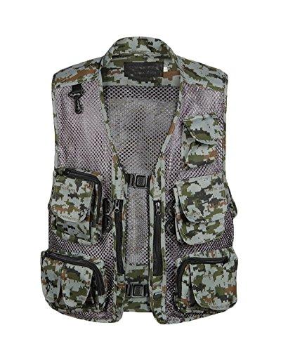 Herren Multitasche Angeln Fotografie Weste Schnell-Trocknend Jacke Im Freien Militärischer Stil Multifunktionsweste Grau DZ 2XL