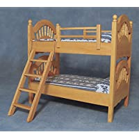 1/12th Scale Dolls House Bedroom Bunk Beds in Pine