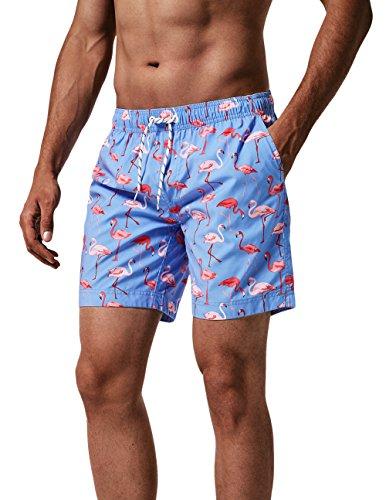 MaaMgic Herren Badeshorts SCHNELLTROCKNEND Boardshorts Trainingshose mit Mesh-Futter und Verstellbarem Tunnelzug MEHRWEG Blau Flamingo L (Lauren Ralph Shop)