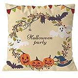 ESTATE Kissenbezug, Halloween Kürbisslicht Kissenbezug Drucken Sie Quadratischen Reissverschluss Kissenbezug Halloween Raum Sofa Auto Dekorativer Baumwoll(G,1PC)