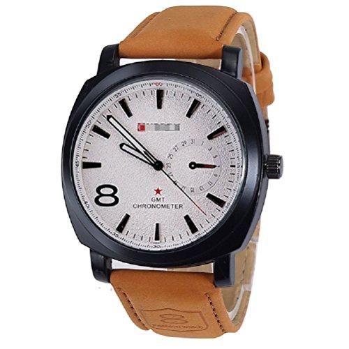 Reloje Hombre,Xinan NUEVO Relojes Correa Cuero Reloj de Pulsera Militar (Blanco)