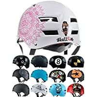 Skullcap® Casco BMX - Casco Skate - Casco Bici, Casco Longboard, Blanco, Talla M, Mandala