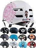Skullcap Casco BMX - Casco Skate - Casco Bici, Casco Longboard, Blanco, Talla M,...