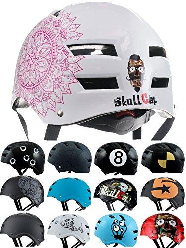 Skullcap BMX Helm  Skaterhelm  Fahrradhelm , Herren | Damen | Jungs & Kinderhelm, BMX Helm Rosa Pink glänzend (Mandala, L (56-59 cm))