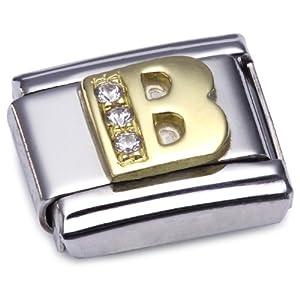 Nomination Comp. Classic BUCHST. Edelstahl, 18K-Gold und Cubic Zirc. (B) 030301