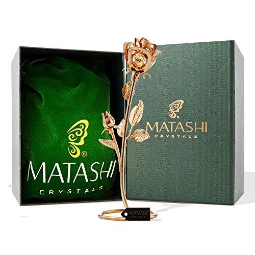 Matashi 24K Chapado en Oro Cristal Claro Doble Rosa Table Top Ornament