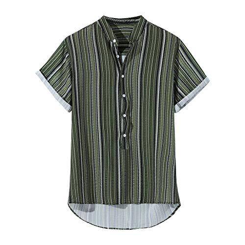 Herren Stripes Kurzarm Hawaii Hemd Afrika Brasilien Freizeithemd T Shirt Männer Baumwolle Leinen Hemden Tops Sommer Frühling Herbst Oberteil Business Hochzeit Henley Top Shirts Streetwear