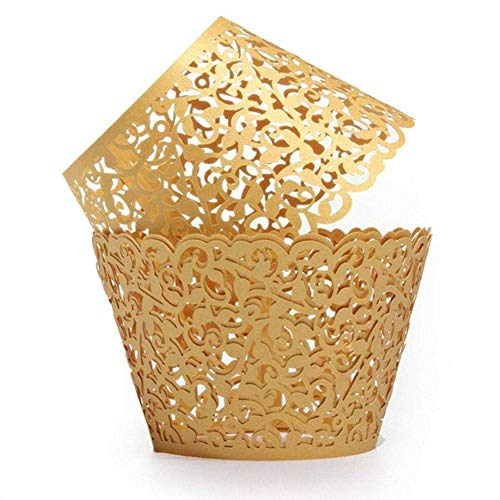 wdoit 50 Kuchen Paper Cup Periphere Dekoration Cupcake Lace Wrap Cupcake Wrappers DIY Bakery Papier Periphere Laser Halter Spitze ohne Boden Hochzeit Geburtstag Party, gold