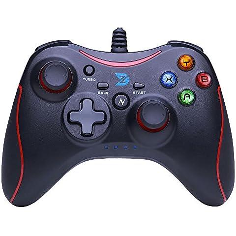 ZD-N retroalimentación de vibración USB con cable Consola de juego Mando Gamepad Controller Joystick apoyar PC(Windows XP/7/8/8.1/10) & PS3 & Android (arquitectura Xbox360) - [negro rojo]