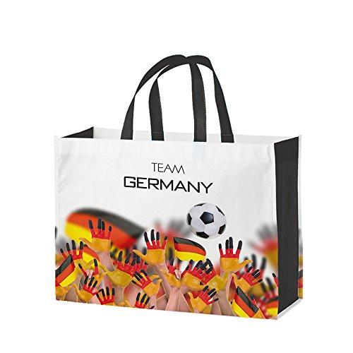 Einkaufstasche / Non-Woven-Tasche LAMINIERT ( 1 Stück ) Format: 42 x 32 + 15 cm Falte umlaufend, 2 Tragehenkel, Material: Polypropylen, Design: Team Germany - für DE kostenlose Lieferung ab EUR 29,00