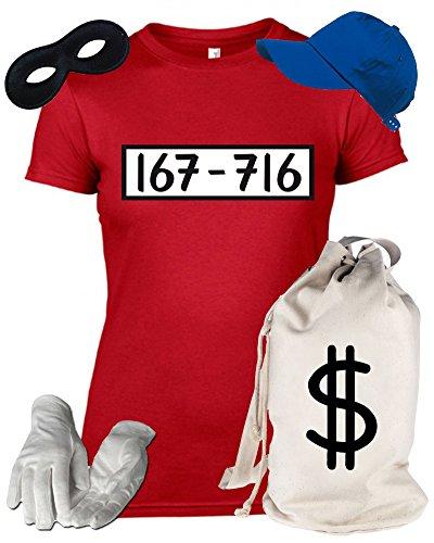 Deluxe Kostüm für Panzerknacker Fans Fasching Karneval Damen T-Shirt+Geld Sack+Cap+Handschuhe+Maske, Größe: (Kostüme Geld)