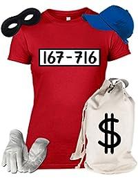 Deluxe Kostüm für Panzerknacker Fans Fasching Karneval Damen T-Shirt+Geldsack+Cap+Handschuhe+Maske