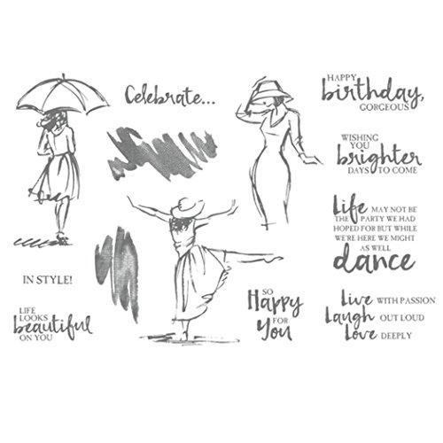zhouba Dancing Frauen Transparent Clear Stamps DIY Scrapbooking Werkzeug dekorativen Craft, Silikon, schwarz, Einheitsgröße