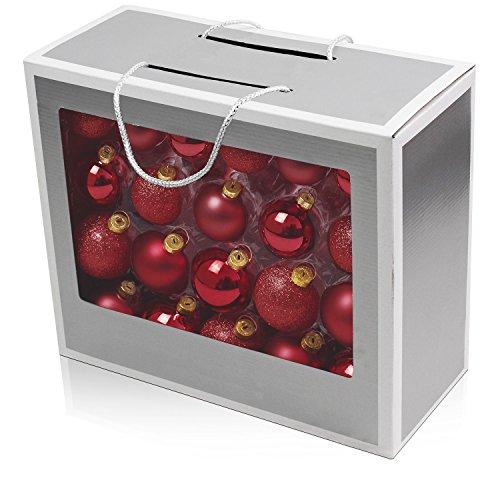 Set de 42 bolas de navidad Ø5/5,5/6,5cm vidrio rojo adornos del árbol de navidad decoración navideña decoración para el abeto