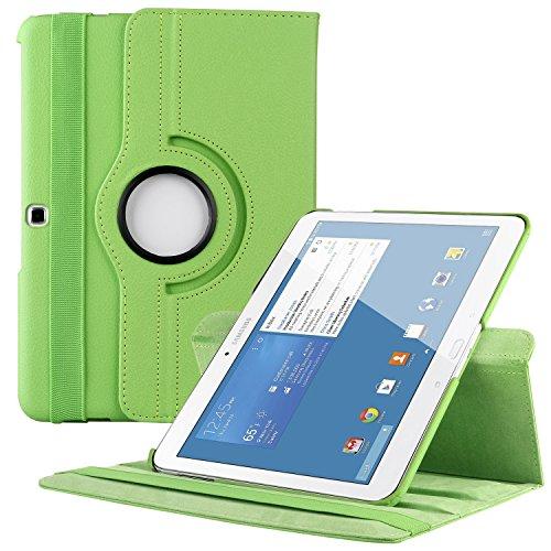 EnGive 360°Drehbares Ledertasche Samsung Galaxy Tab 4 10.1 Hülle (10,1 Zoll) Schutzhülle Case Tasche mit Ständerfunktion Auto Sleep/Wake-Funktion (Samsung Galaxy Tab 4 10.1, Grün)
