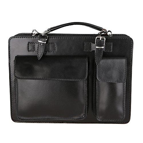 Chicca Borse Unisex Aktentasche Organizer Handtasche Mittlere Maß mit Schultergurt aus echtem Leder Made in Italy 34x24x12 Cm Schwarz