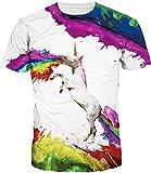 TDOLAH herren bunt galaxy T-Shirt Sport Rundhals Spaß Motiv Tops (L (TAG XL/2XL), Regenbogen Einhorn)