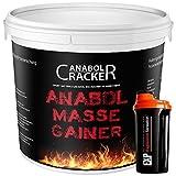 Anabol Masse Gainer, Whey Protein Shake, 2000g Eimer, 100% Hardgainer, Eiweißpulver Aminosäuren + Shaker (2000g Vanille)