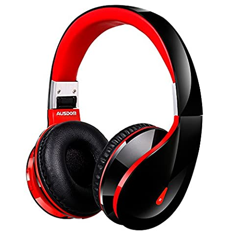 Bluetooth Kopfhörer AUSDOM AH2S faltbare Wireless Headset Portable Stereo Headphones, bis zu 18 Stunden Spielzeit, 400 mAH wiederaufladbare Battrie, mit intergiertem Mikrofon und 50mm Lautsprecher, Freisprechen, rot / schwarz