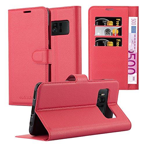 Cadorabo Hülle für ASUS ZenFone AR - Hülle in Karmin ROT - Handyhülle mit Kartenfach & Standfunktion - Case Cover Schutzhülle Etui Tasche Book Klapp Style