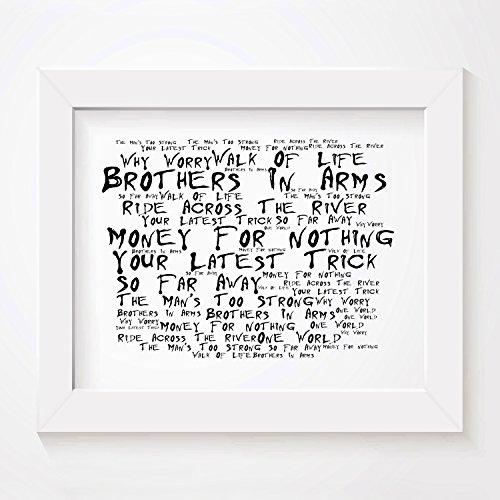 'Noir Paranoiac` Poster Affiche d'art - DIRE STRAITS - Brothers In Arms - Edition signée et numérotée limitée typographie non encadré 20 x 25 cm la musique album mur art haute qualité d'impression - Song lyrics music poster