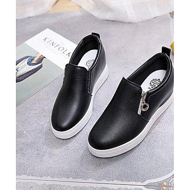 SHOESHAOGE Scarpe Donna Pu Cadere Comfort Mocassini &Amp; Slip-Ons Tacco Piatto Rotondo Zipper Toe Per Casual Bianco Nero Nero