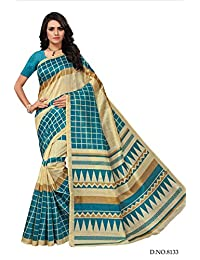 Fabwomen Sarees Kalamkari Beige And Sky Blue Coloured Cotton Silk Fashion Party Wear Women's Saree/Sari With Blouse...