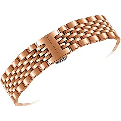 18mm Beautifully Colored Watch Bands Rose Gold Plated Solid Stainless Steel Straight or Curved Connections