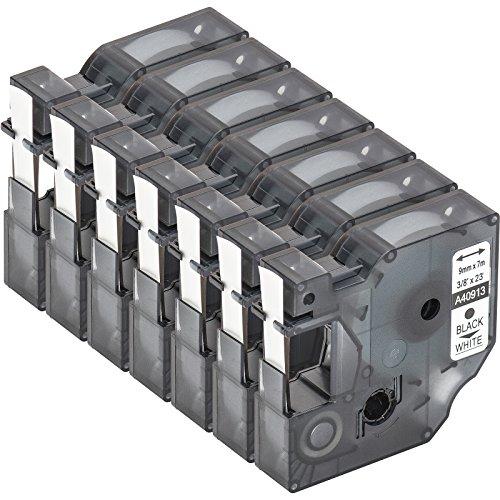 7 Cartuchos para impresión de etiquetas compatible con Dymo D1 40913 en negro sobre blanco 9 mm x 7 m para la LabelManager LabelPoint LabelWriter para DYMO LabelPOINT & LabelManager LM100 / LM120P / LM150 / LM160 / LMPC2 / LM200 / LM210D / LM220P / LM260 / LM280 / LM300 / LM350 / LM400 / LM260P / LM350D / LM360D / LM420P / LM450 / LP350 / LP100 / LP150 / LP200 / LP250 / LP300 / PC / PC2 / PnP / PnP WiFi / LW400 / LW450 Duo
