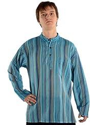 Hemad.De - Chemise Avec Col Mao En Pur Coton - Kurta De Nepal - Turquoise S-Xxxl
