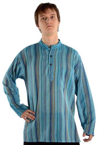Gestreiftes Hemd Kostüm - HEMAD Herren Hemd Fischerhemd S-XXXL gestreift blau-weiß, beige-braun, türkis, bunt, rot reine Baumwolle (XL, türkis gestreift)