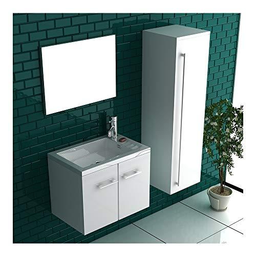 bad1a Badmöbel Set mit Waschbecken aus Mineralguss, Unterschrank und Design-Spiegel mit S