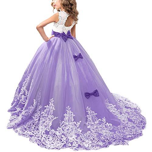 418b6ca883e0 OBEEII Vestido de Niñas Boda Fiesta de Princesa Sin Mangas Encaje  Rhinestone Elegantes Vestidos de Noche Comunión Ceremonia Gala Pageant  Cóctel Prom ...