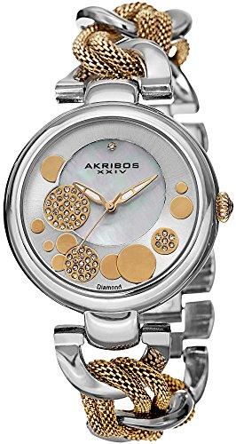 Akribos XXIV Femme Lady Diamond Argenté et Doré Cadran chaîne Maille et Lien Montre Bracelet