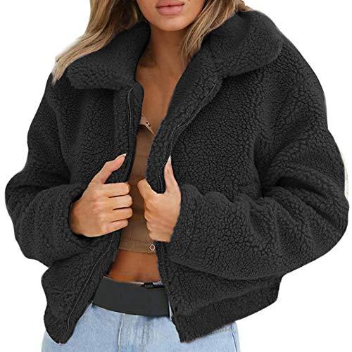 Plüschjacke Damen Reißverschluss, Holeider Mantel Winter Warm Künstliche Wolle Jacke Parka Outwear Frauen Kurz Coat Mäntel Schwarz