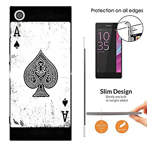 001598 - Ace Of Spades Playing Cards Casino Poker Black Jack Design Sony Xperia XA1 Ultra 6