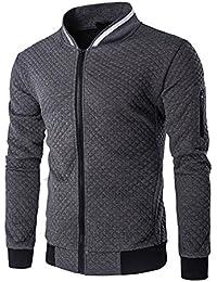 9c0e5f98b535 Veravant Sweat-Shirt Homme Manches Longues Pull Uni Zippé Bomber Blouson  Veste Sport