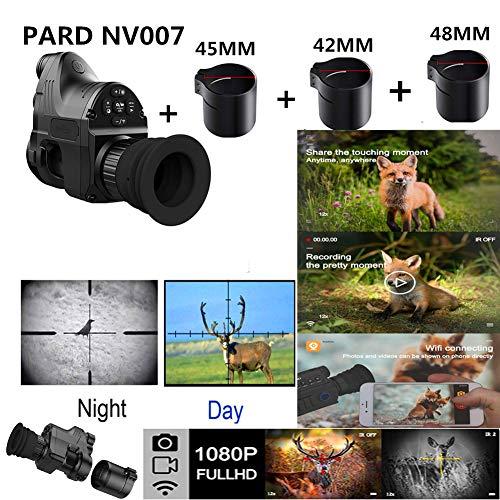 Changli NV007 Nachtsichtgerät Jagd Digitalkamera Reichweite 200m 1080P HD Digitalkamera Wasserdicht Antifogging WiFi Optisches IR Infrarot 4X-14X Zoom Zielfernrohr Monokular NV007+42+45+48MM Adpter