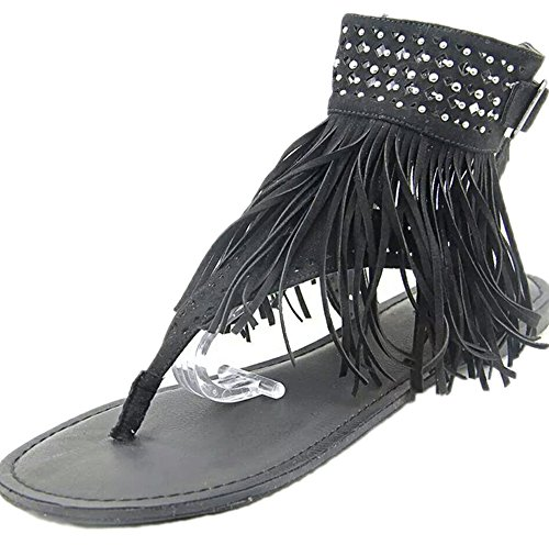 Huateng Damen Damen Flach Zip Strappy Sommer t-Bar Quaste Flache Gladiator Boho Sandalen Schuhe Tanga T-Gurt Flip Flops (Strappy Gladiator)