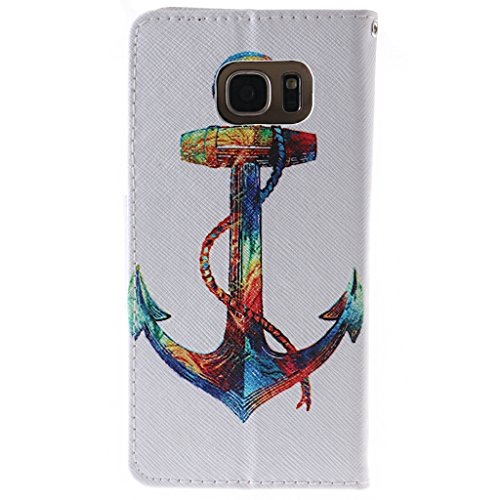 iPhone 6 Custodia, iPhone 6S Cover, con protezione schermo,], qimmortal Premium Elegante intelligente PU Flip a portafoglio in pelle con chiusura magnetica con carte resistente TPU Bumper in gomma int Color anchor