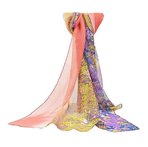 Leisial Pañuelos Gasa de Larga Bufanda Floral Pintura del Abrigo del Mantón de Bufandas Suave Gasa de Chal Seda Verano para Mujer,Rosa 160*50cm