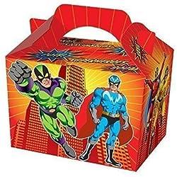 Playwrite - Cajas para fiestas de cumpleaños (12 unidades), diseño de superhéroes