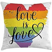 Pride Dekorationen Überwurf Kissen Kissenbezug Von Ambesonne, LGBT Gay  Lesbian Parade Love Ist Love Hand Schreiben Paint Strokes Kunstvolle, ...