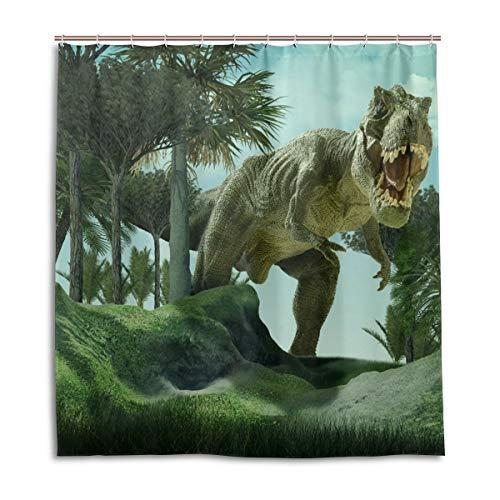 CPYang Duschvorhänge Giant Dinosaurier Palme Wasserdicht Schimmelresistent Bad Vorhang Badezimmer Home Decor 168 x 182 cm mit 12 Haken