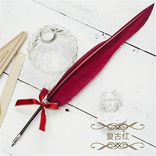 Antike Schreibfeder Dip Pen Stift, Gänsekugelschreiber Kalligraphiestift + Halter + 5 Stück austauschbare Schreibfeder 36cm Mini Glue Pen