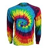 Colortone Unisex Langarm-T-Shirt / Longsleeve in Batik-Optik (XL) (Regenbogen)