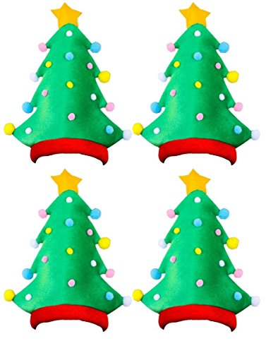 ILOVEFANCYDRESS Weihnachts Santa HÜTE FÜR Frauen ODER MÄNNER PERFEKT FÜR EINE Weihnachtsfeier Xmas Party ODER Betriebsfeier DER Weihnachtsfeier Art 4 GRÜNE Schaumstoff Weihnachtsbaum HÜTE