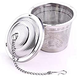 FLM Premium Sieb Edelstahl Teesieb - Edelstahl Teefilter mit Deckel und Kette für die Meisten Tee-Tassen und Tee-Schalen