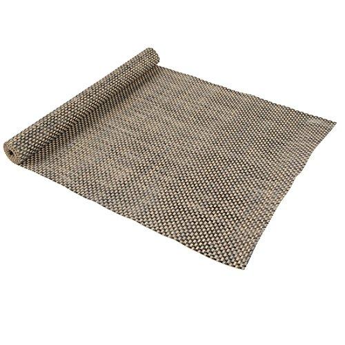 Levivo Chemin de table en plastique tressé et facile à nettoyer Noir/Beige, 38 x 140 cm