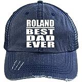 Roland Dad Ever - Distressed Trucker Cap Navy/Navy / One Size, Auf Alt Getrimmt Trucker Kappe Golfkappe Baseballmütze Baseballkappe